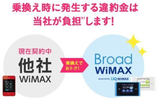 Broad WiMAXは他社の違約金を負担してくれる