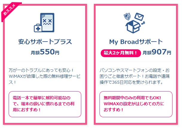 Broad WiMAXのオプション