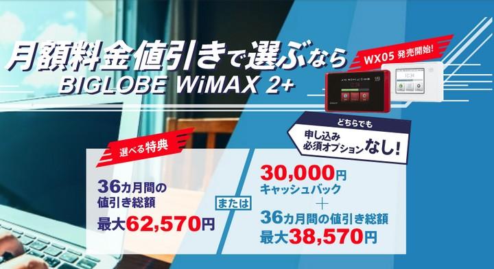 BIGLOBE WiMAXのキャンペーン内容